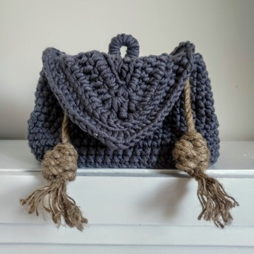 Plecak handmade szydełko szary rękodzieło