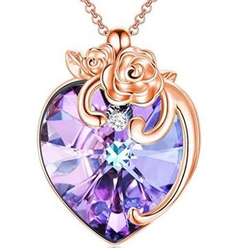 Naszyjnik Serce Różane z Pięknym Kryształem