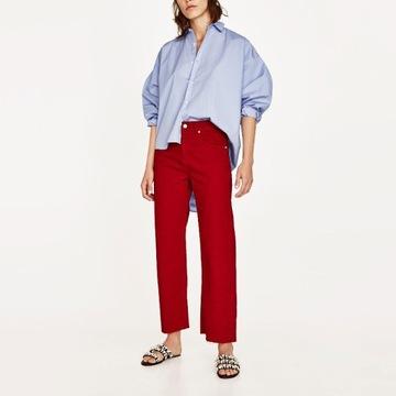 ZARA czerwone jeansy kuloty spodnie CULOTTE 34