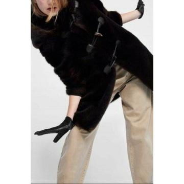 ZARA/Skórzano-sztruksowe rękawiczki z Madrytu/NOWE