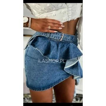 Jeans spódniczka falbanki S