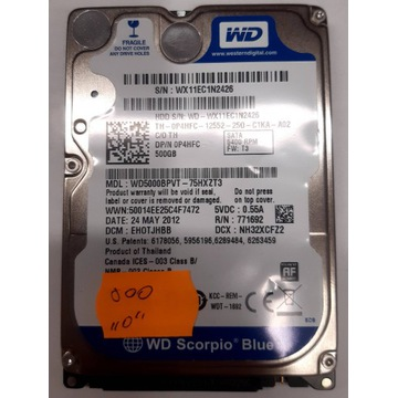 Dysk twardy WD WD5000BPVT 500GB Sprawny