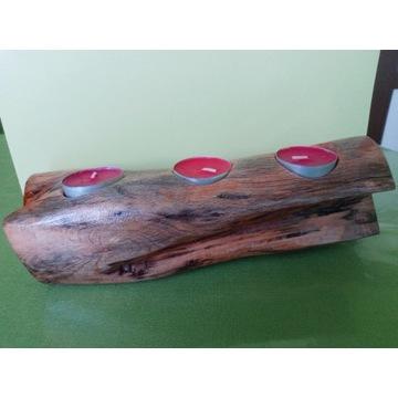 Świecznik drewniany na  tealight