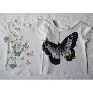 H&M 2x bluzka z dżerseju motylki roz. 92
