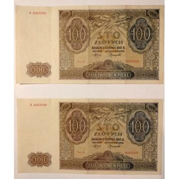 2x100zł z 1941 seria A kolejne numery