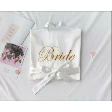 Szlafrok biały z napisem Bride / Panna młoda L/XL