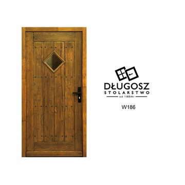 Drzwi Drewniane wiejski dom chata góralskie nity
