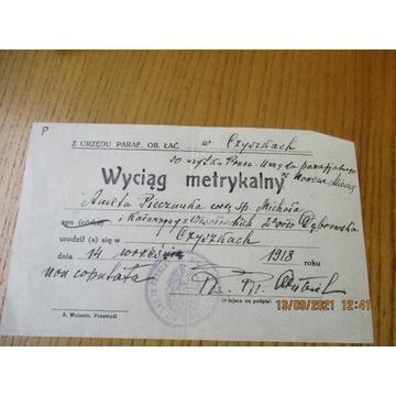 wyciąg metrykalny CZYSZKI Czyżki 1918 r.