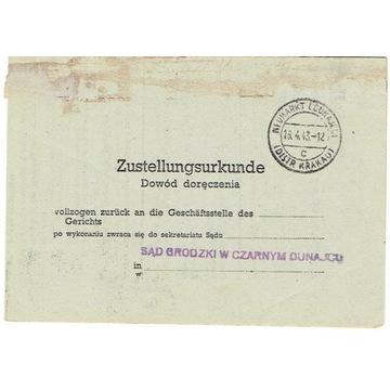 GG - Dowód doręczenia z Nowego Targu 1943