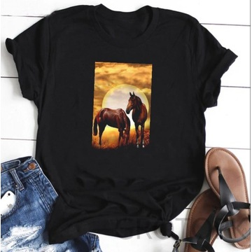 Koszulka t-shirt lato konie kon S-XXL nowe wzory