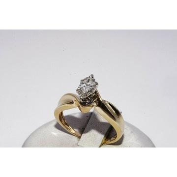 Złoty pierścionek diament 0,20ct P/I CERTYF.1800zł