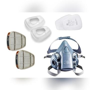 3M Maska 7502 + pochłaniacze 6055 + filtry 5935 P3