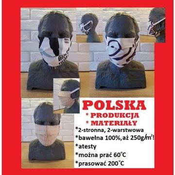 MASECZKA BAWEŁNIANA maska maseczki maski 2-warstwy