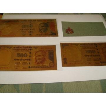 Zestaw 3 złotych banknotów i srebrna INDIE