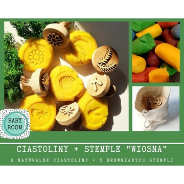 Drewniane stempelki i naturalna ciastolina