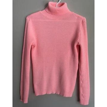 Różowy golf sweter prążkowany lolita pink 38