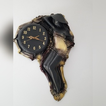 Zegar ścienny oprawa skóra