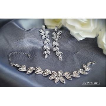 Komplet biżuteria ślubna wieczorowa cyrkonie Z1