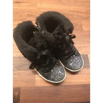 F&F 28 dziewczęce zimowe buciki czarne brokat