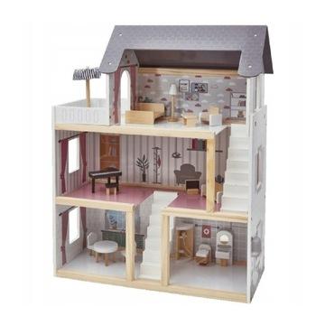 Duży drewniany domek dla lalek z akcesoriami