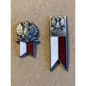 odznaka wojskowa proporczyk orzeł w koronie 2 szt.