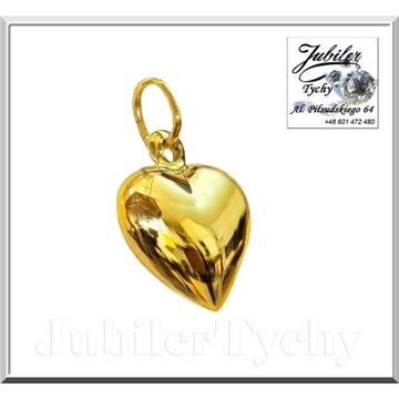 Złota zawieszka serce złote dwustronne serduszko