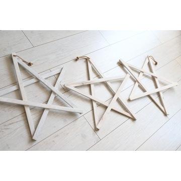 Gwiazdy drewniane ozdoba świąteczna
