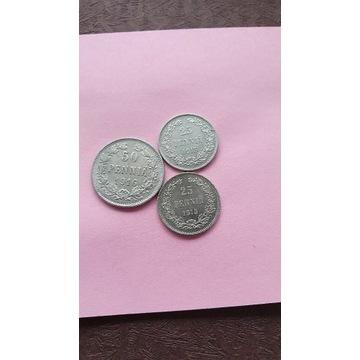 50-25 PENINIA 3 szt.srebro.