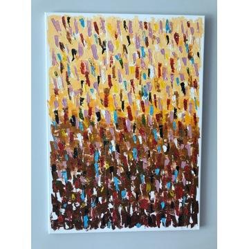Obraz abstrakcja szpachla malowany na płótnie