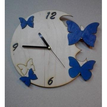 Zegar ścienny odlatujące motyle