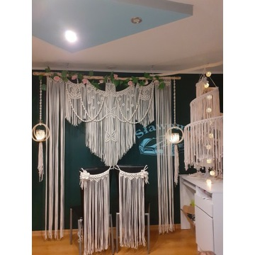Ścianka ślubna, makrama, boho, zestaw