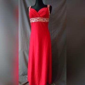 Malinowa sukienka z cekinami maxi M