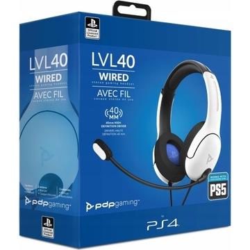 Zestaw słuchawkowy PDP LVL40 Wired Biały PS4/PS5