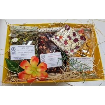 Kobiecy zestaw w pudełku 3x 100g herbat i czekolad