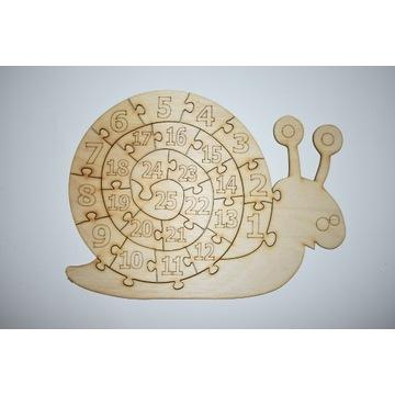 Układanka drewniana puzzle edukacyjn ślimak liczby
