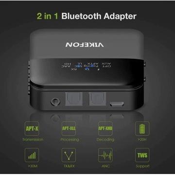 Vikefon adapter bluetooth APTX LL 2xsłuchawki opt