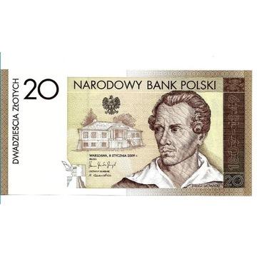 Banknot 20 zł 200 rocznica urodzin J. Słowackiego