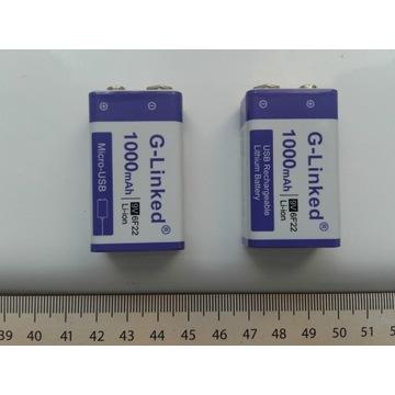 Akumulator 6F22, 9V 1000mAh z ładowaniem microUSB