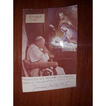 Pocztówka/zdjęcie papież wesołych świąt