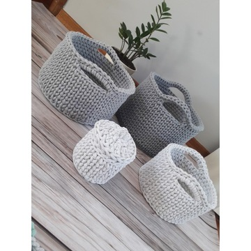 Zestaw  4 koszyków ze sznurka bawełnianego 5 mm