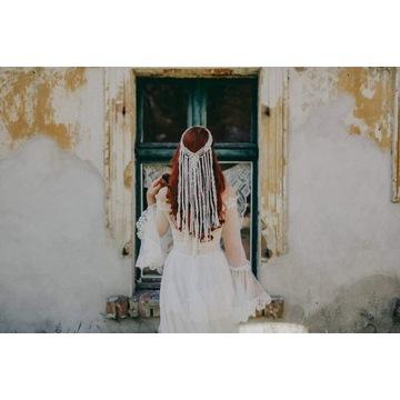 Dodatki ślubne opaska makramowa w stylu boho