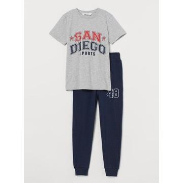 H&M Komplet dresy + T-shirt granat/szary NOWY 170