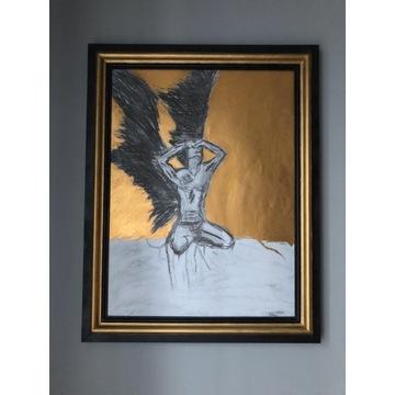 """Obraz """"Upadły anioł"""" ręcznie malowany"""