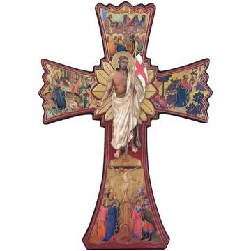 Krzyż ikona Jezus Chrystus Zmartwychwstały złoceni
