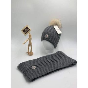 Komplet zimowy czapka z pomponem i szalik kolory