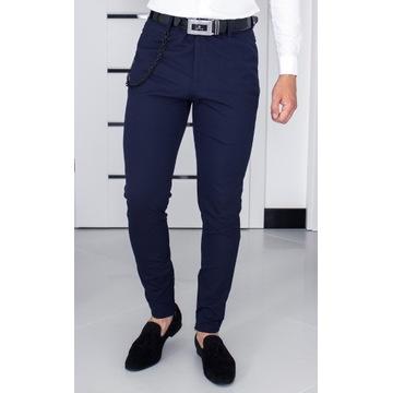 Spodnie Zara W31 (S - 40) Granatowe Slim 24O059