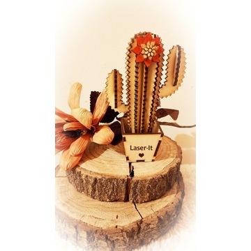 Kwiat kaktusik drewniany, logo, sklejka 3 mm
