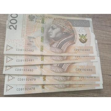Banknoty 200zl kolejne nr