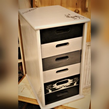 Komódka decoupage,biurowa, szafka pod biurko