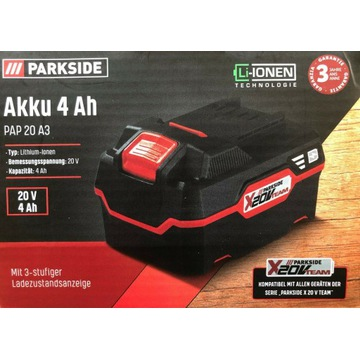 Akumulator Parkside X20V TEAM PAP 20 A3 4Ah